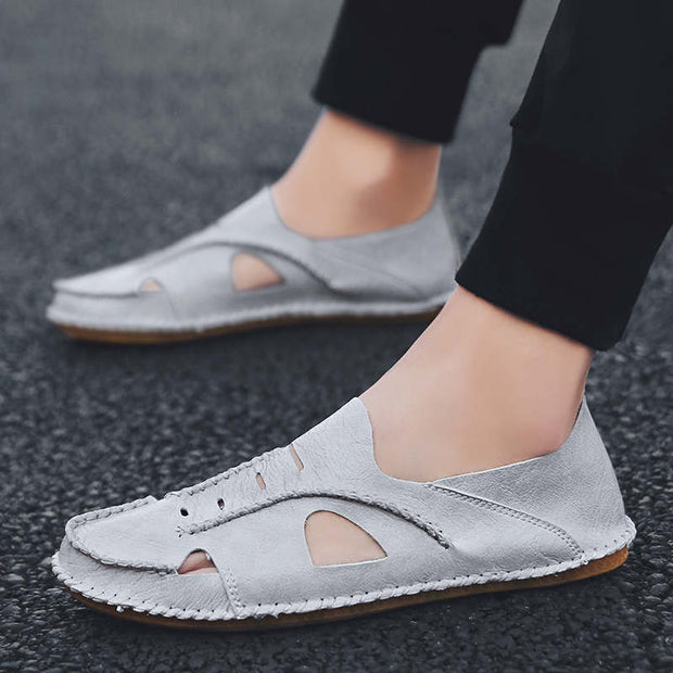 Men's Summer Solid Hollow Out Flats Sandals