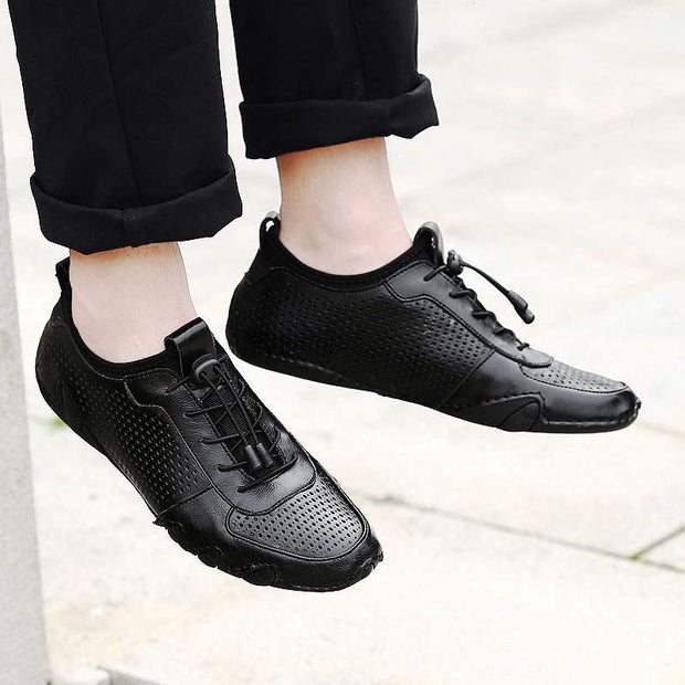 Men's Leather Mesh Solid Breathable Lace Round Leather Shoes