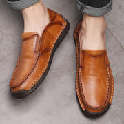 Men's Genuine Leather Breathable Solid Set Of Round Head Casual Leather Shoes