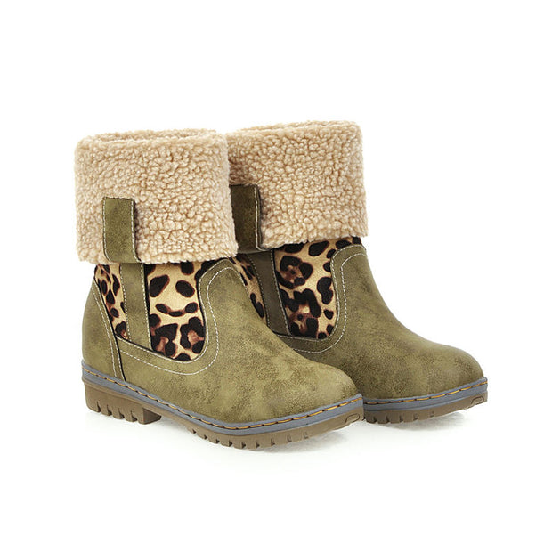 "Women Fashion Casual Leopard Soft Non-Slip Round-Toe Warm Winter Boots(10% Off with Code ""TT10"" )"