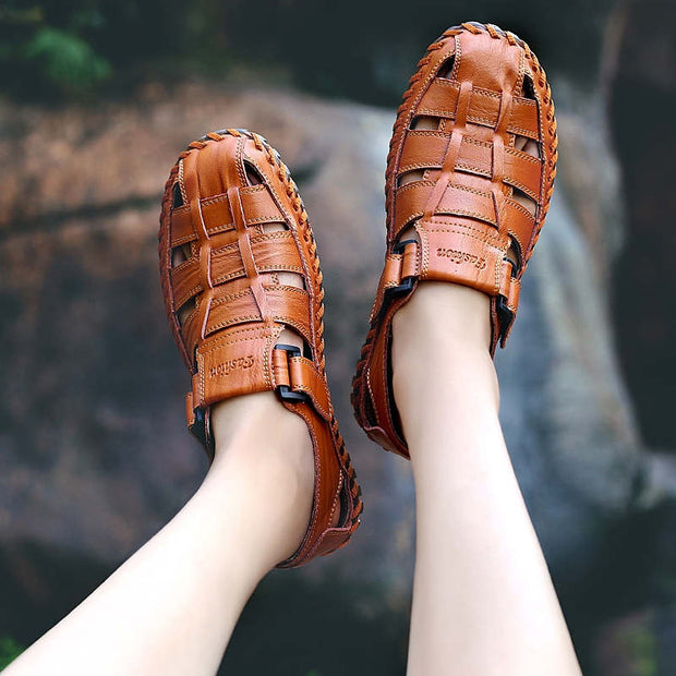 Men Summer Solid Genuine Leather Hollow Out Flat Sandals