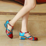 Women Summer Genuine Leather Retro Med Heels Sandals