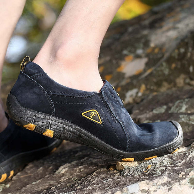 Men Solid Genuine Leather Flat Non-slip Casual Shoes