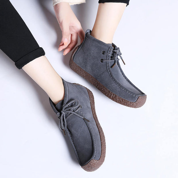 Women Fashion Suede Breathable Round-Toe Lace-up Casual Shoes