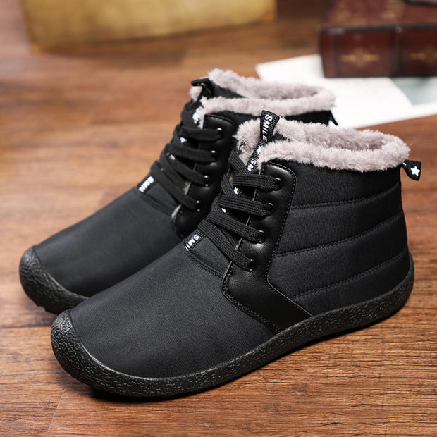 Men Casual Waterproof Non-slip Solid Round-Toe High-top Warm Shoes