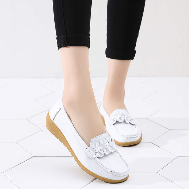 Women Summer Solid Soft Round-Toe Flats Casual Shoes