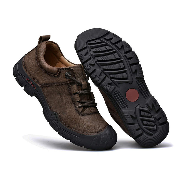 Men's Leather Mesh Solid Breathable Round Head Casual Shoes
