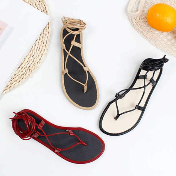 Women Summer Solid Round-Toe Sandals Flat