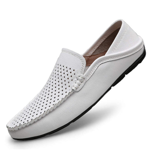 Men Fashion Solid Genuine Leather Casual Shoes