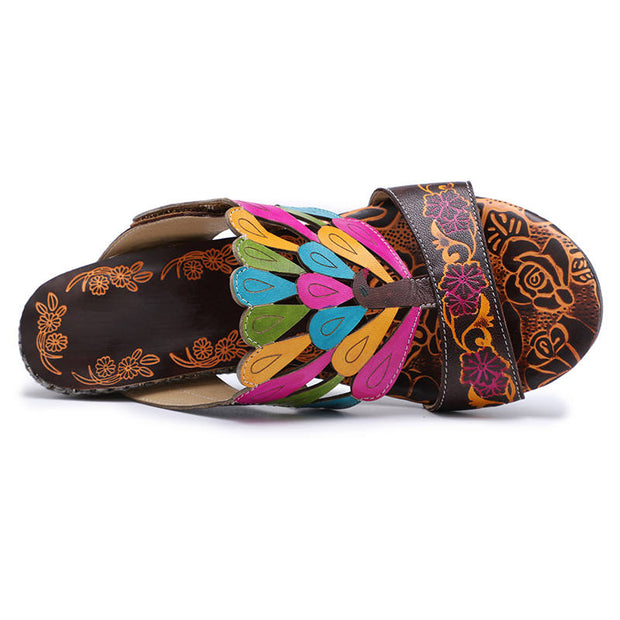 Women Summer Genuine Leather Retro Peacock Slippers Sandals