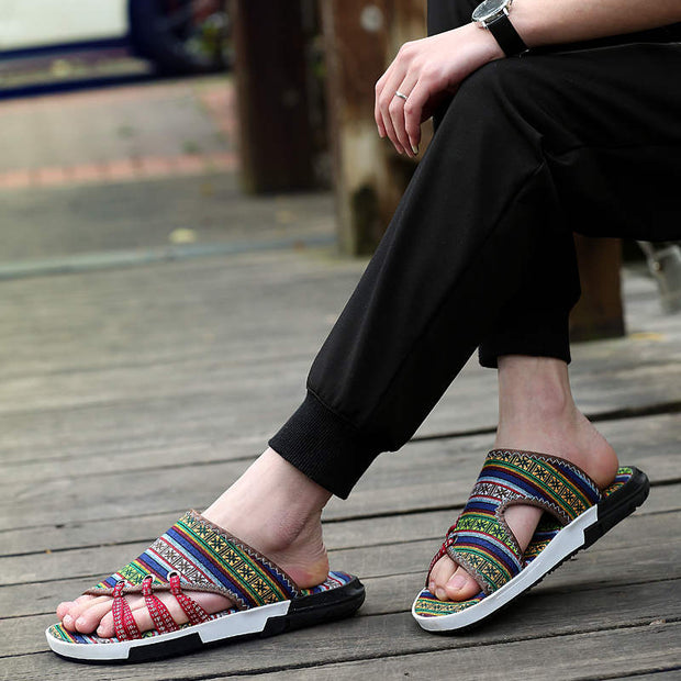 Men Summer Ethnic Style Flats Sandals Slippers