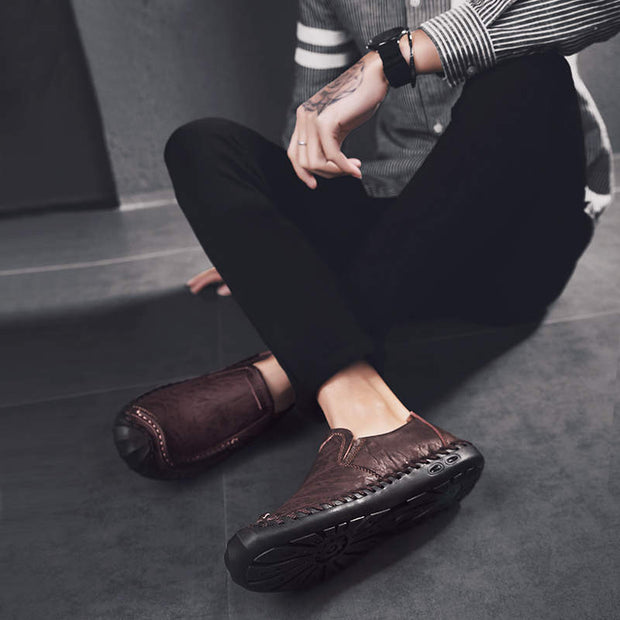 Men's Fashion Casual Shoes Handmade Genuine Leather Flats Shoes