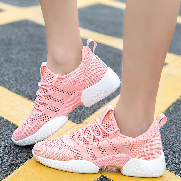 Women Summer Mesh Fabrics Hollow Out Round-Toe Athletic Shoes