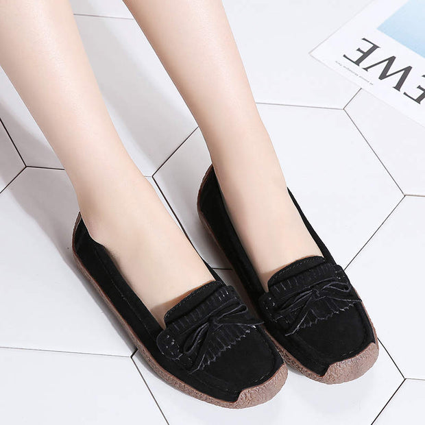 Women Summer Solid Round-Toe Suede Flats