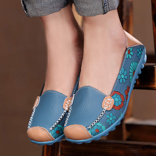Women Fashion Printing Genuine Leather Casual Shoes