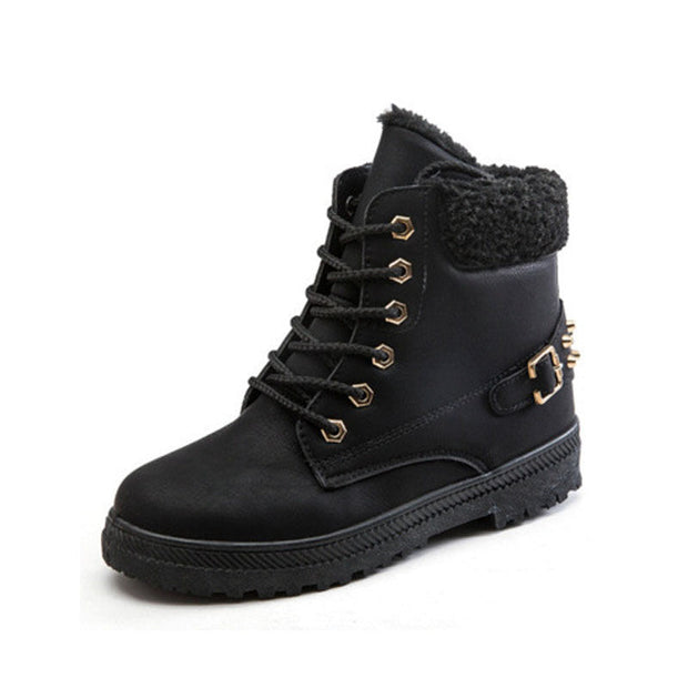 "Women's Fashion Waterproof Rivet Flat Heel Lace-Up Snow Boots(10% Off with Code ""TT10"" )"