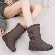 Women Winter Waterproof Solid Plush Non-slip Flat Boots