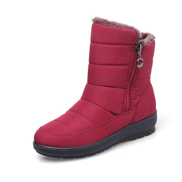 "Women Casual Zip Up Faux Fur Waterproof Non-slip Solid Round-Toe Warm Boots(10% Off with Code ""TT10"" )"