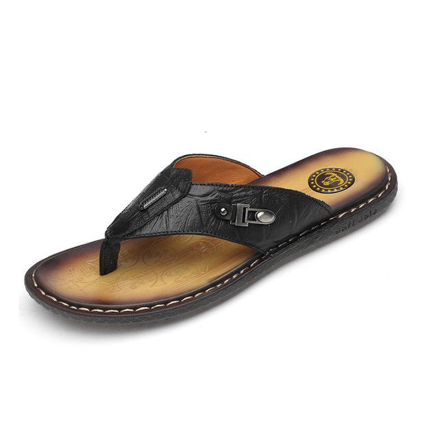 Men's Summer Vintage Solid Slippers Soft Flats Beach shoes