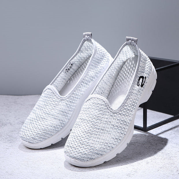 Women's Summer Solid Set Of Feet Round Head Breathable Casual Shoes