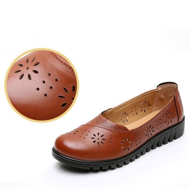 Women Summer Fashion Genuine Leather Flats Hollow Sandals