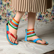 Women Summer Retro Colorful Stripe Roman Style Sandals