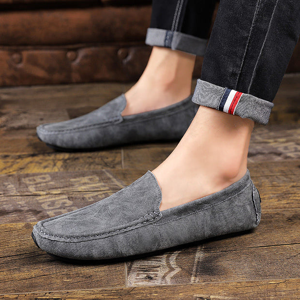 Men's Genuine Leather Round-Toe Breathable Flats Loafers
