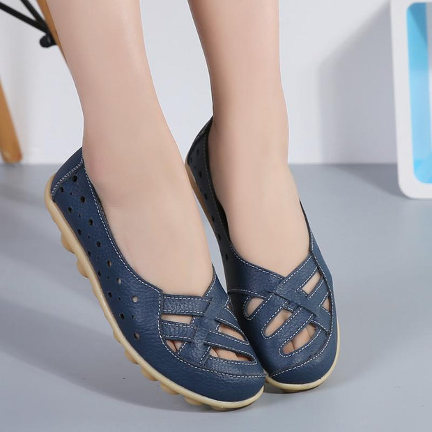 Women's Genuine Leather Solid Slip On Flats