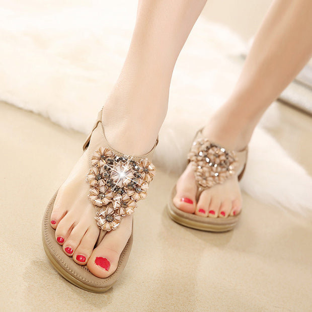 WomenFlower T-Strap Rhinestone Bohemian Sandals