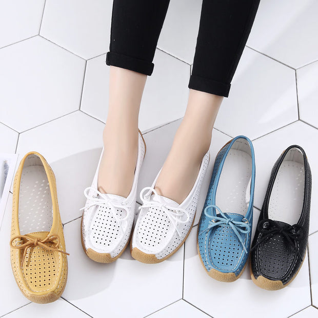 Women Summer Soft Genuine Leather Bow-knot Hollow Out Flats