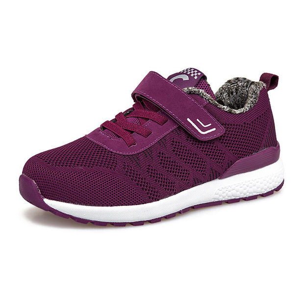 Women Fashion Lace-up Mesh Fabrics Solid Warm Casual Athletic Shoes