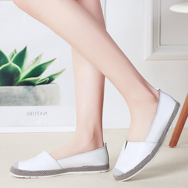 Women Summer Flats Fashion Genuine Leather Casual Shoes