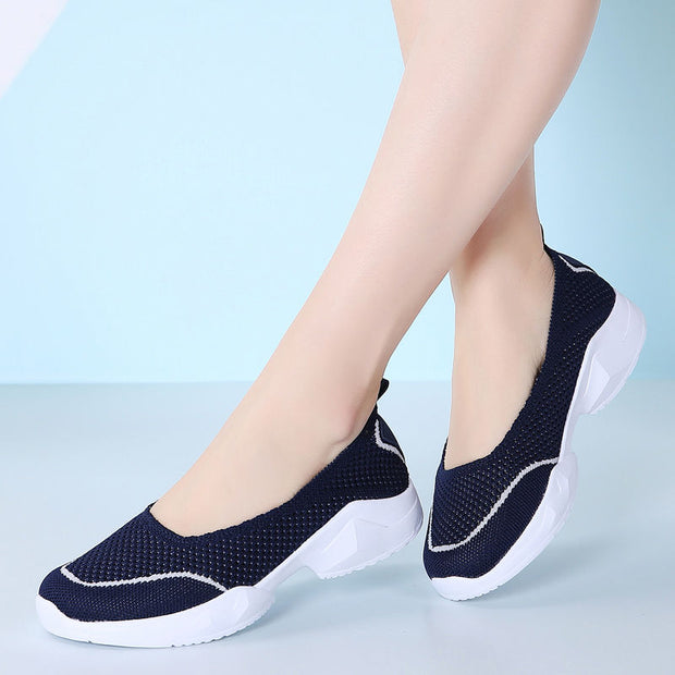 Women's Fashion Round Head Mesh Set Foot Flat Sports Casual Shoes