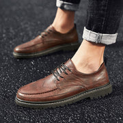 Men Summer Round-Toe Genuine Leather Non-slip Flat