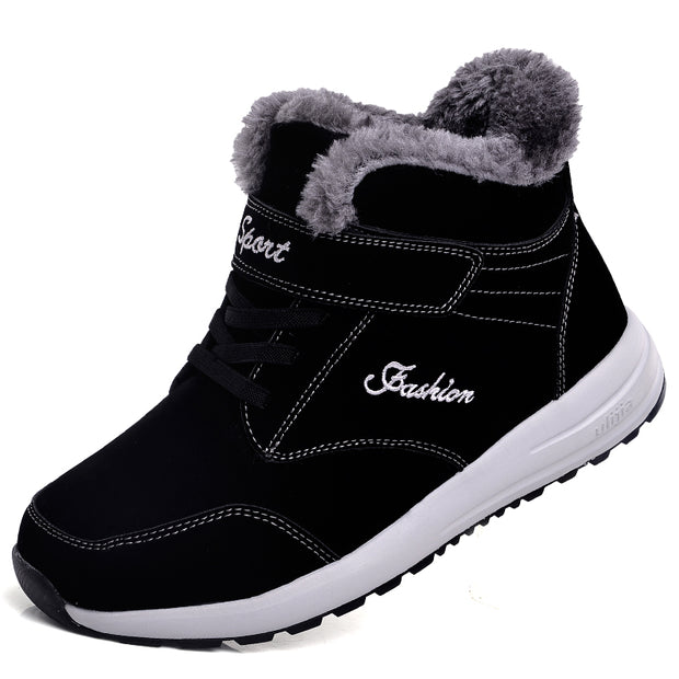 Men Fashion Casual Solid Faux Fur Round-Toe Warm Athletic Shoes