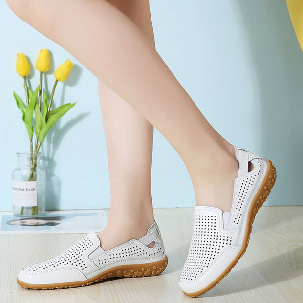 Women High Quality Genuine Leather Hollow Casual Shoes Sandals