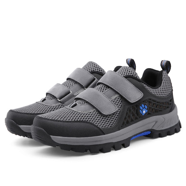 Men's Summer Solid Round Mesh Travel Velcro Casual Shoes