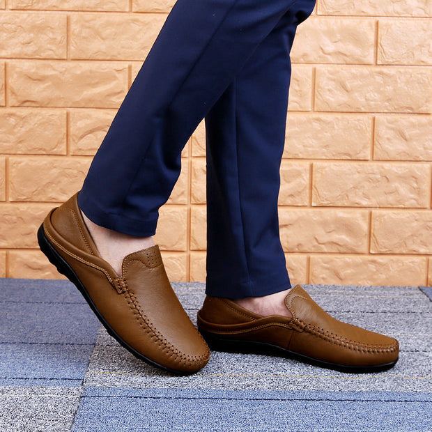 Men's Solid Simple Round Head Cover Slip-on Loafers