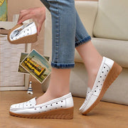 Women Fashion Hollow Genuine Leather Med Heels Sandals