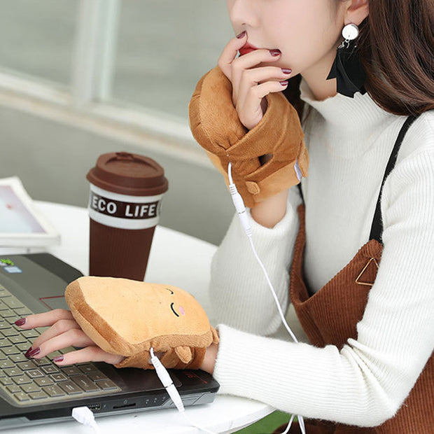 USB Warmer Heated Gloves Hand Warmers Gloves Fingerless Cute Toast Shape Winter Gloves