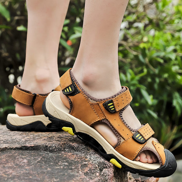 Men Summer Genuine Leather Non-slip Round-Toe Flat Sandals