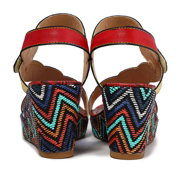 Women Genuine Leather Thick Bottom Open Toe Retro Sandals