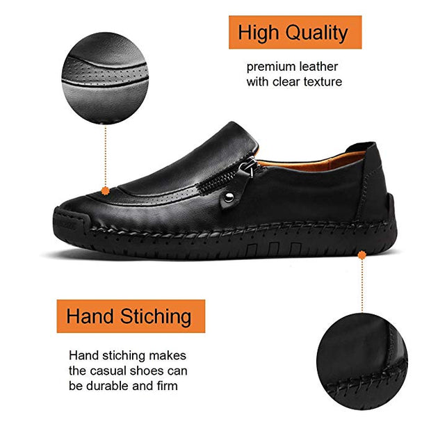 Men's Hand Stitching Zipper Non-Slip Casual Leather Shoes (Get 2nd One 20% Off)