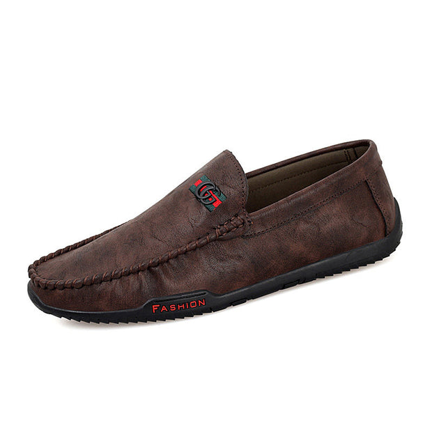 Men's Soft Genuine Leather Round-Toe Flats Loafers
