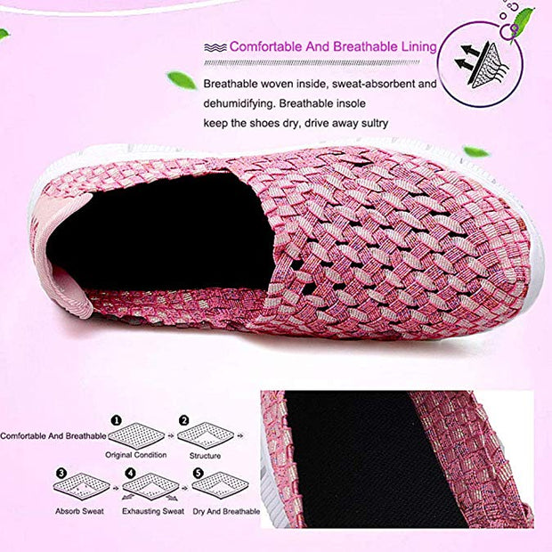 Women Breathable Mesh Hollow Out Colored Woven Flats