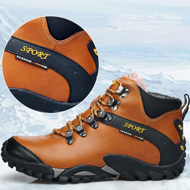 Men Genuine Leather Non-slip Plush Vintage Keep Warm Hiking Shoes