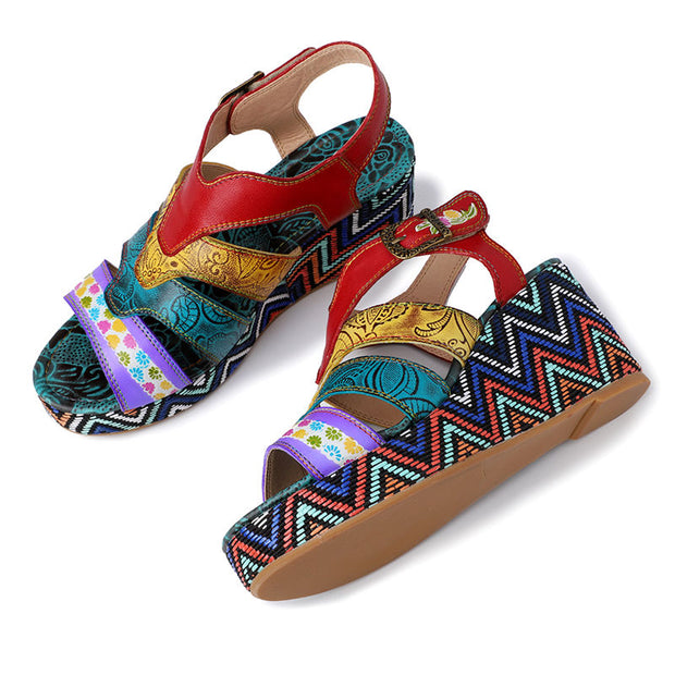 Women Summer Retro Stripe Print Genuine Leather Thick Bottom Sandals