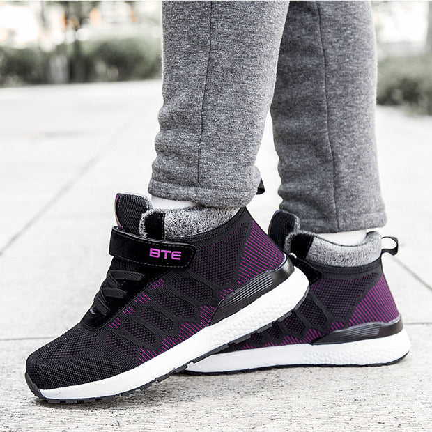Women Fashion Athletic Soft Mesh Fabrics Lace Round-Toe Warm Winter Casual Shoes