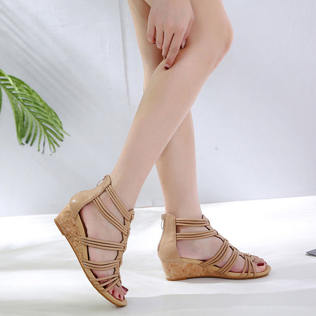 Women Summer Fashion Pumps Sandals Open-Toe Heels Shoes