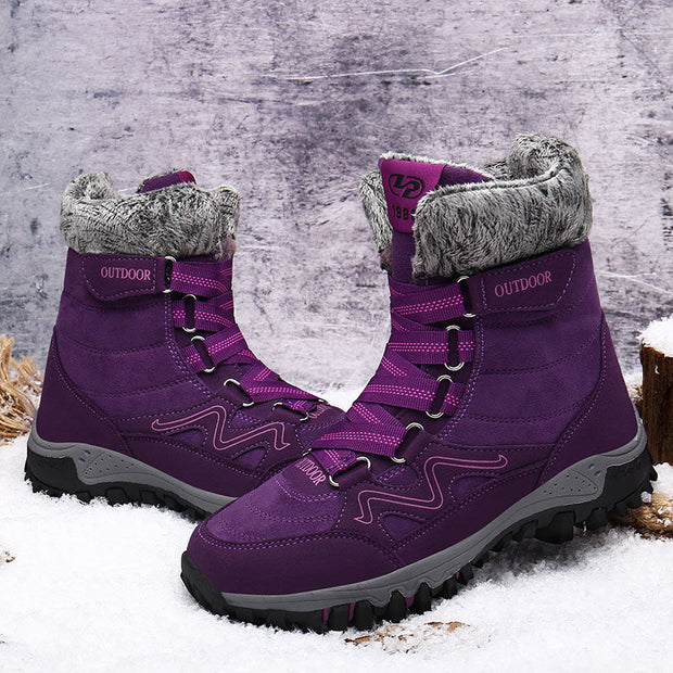 "Women Fashion Casual Genuine Leather Solid Round-Toe Warm Winter Boots(10% Off with Code ""TT10"" )"